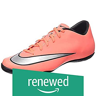 (Renewed) Nike Men's Mercurial Victory V IC Brght MNG/Mtllc Slvr/Hypr TRQ Indoor Soccer Shoe 10 Men US