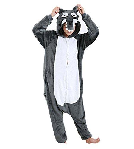 dchen Grau Wolf Erwachsene Unisex Animal Cosplay Overall Pajamas Anime Schlafanzug Jumpsuits Spielanzug Kostüme ()