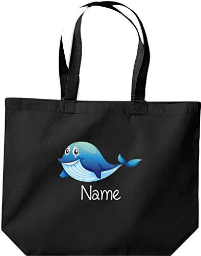große Einkaufstasche, mit süßen Motiven inkl. Ihrem Wunschnamen Delfin, Schwarz