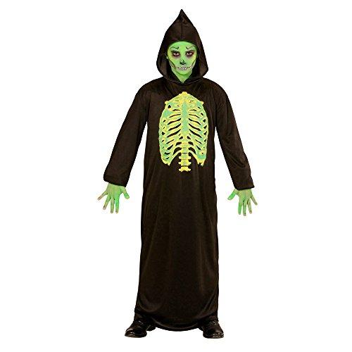 Schwarze Robe Kapuze Mit (Widmann 00327 - Kinderkostüm Skelett Meister, Robe mit Kapuze, Größe 140,)