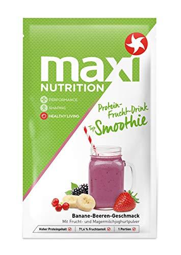 MaxiNutrition Protein Smoothie Banane-Beeren – Fruchtiger Protein Drink mit Bananen-Beeren Geschmack für den Muskelaufbau – 5 x 26 g Protein Shake im Beutel