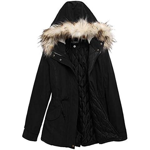 Acevog Abrigo chaqueta parka de mujer anoraks con capucha Cordón ajustable para invierno