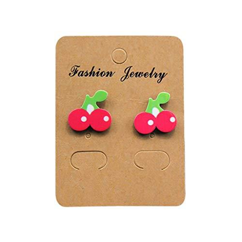 jieGREAT ❄ Damenschmuck ❄ ,Cartoon süße rosa Wassermelone Kirsche kreative Kunst Obst Pflanze Ohrringe weiblich