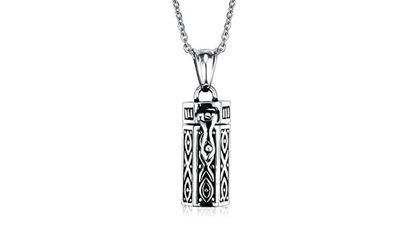 Aooaz Necklace Stainless Steel for Men Cuboid Vintage Necklace Black