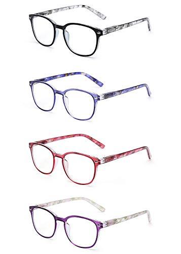 JM Lesebrille Satz von 4 Qualität Federscharnier Leser Damen Herren Brille Für Lesen +1.25 Mischfarbe