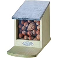 Squirrel Feeding Station - Folding Metal Lid - Without Nuts - approximately 12 cm x 17.5 cm x 22.5 cm