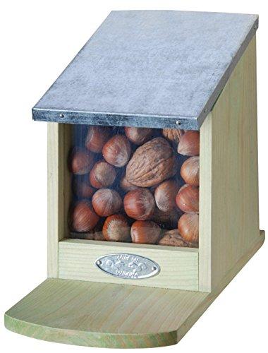 Eichhörnchen Futterhaus, Futterstation, Eichhörnchenhaus, klappbarer Metalldeckel, ohne Nüsse, ca. 12 cm x 17,5 cm x 22,5 cm