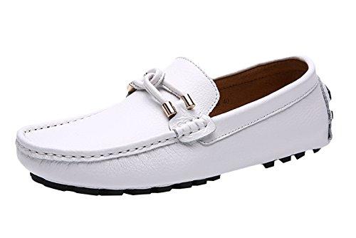 SK Studio Homme Cuir Conduite Chaussures Fait Main Respirant Mocassins Grande Taille Plage Flaneurs Couleur Unie Blanc