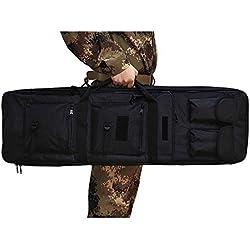 Omonic 48 Pouce Fusil Tactique étui Housse Sac pour Fusil Double Sac à Dos de Rangement avec Sangle d'épaule Magazine Pochette en Fusil de Chasse Nylon imperméable