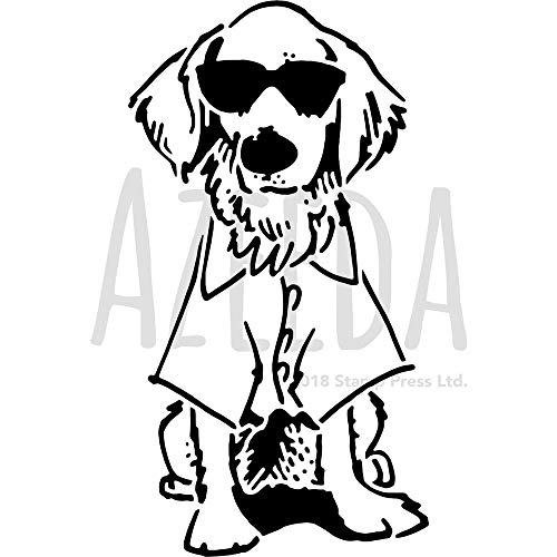 Groß A2 'Hund mit Sonnenbrille' Wandschablone / Vorlage (WS00035249)