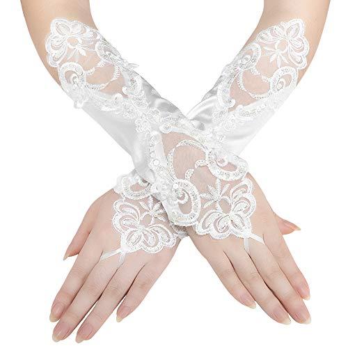 Coucoland Damen Handschuhe Satin Classic Opera Fest Party Audrey Hepburn Handschuhe 1920s Handschuhe Damen Lang Kurz Elastisch (Fingerlos Spitze/Elfenbein) (Elfenbein Spitzen Handschuhe)