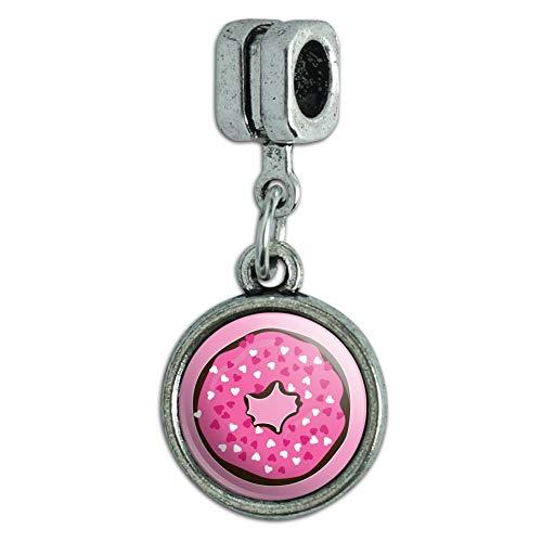 Cute Chocolate Valentine Donut Pink Hearts Italian European Style Bracelet Charm Bead