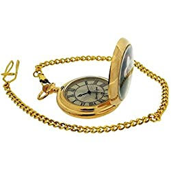 John Wayne Gents Limited Edition Goldtone Pocket Watch Plus 14 Inch Chain WAY04
