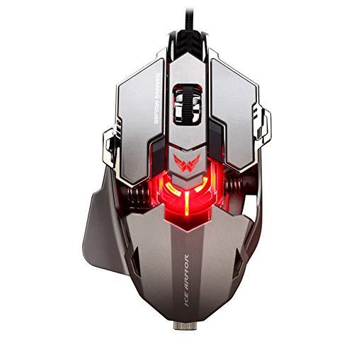 Unbekannt XINGUANG E-Sports Gaming Mouse Mechanische Makro-Programmierung Maus 9 Tasten können 12 Arten von DPI-Anpassung einstellen Gaming-Maus (Farbe : Gray)