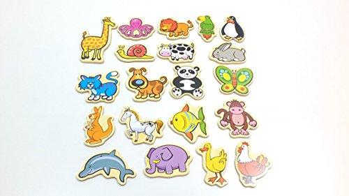 Preisvergleich Produktbild Magnetische Tiere aus Holz / farbig bedruckte Tiermotive / Zubehör Magnettafel / ca. 5 x 8 cm / für Kinder ab 18 Monaten