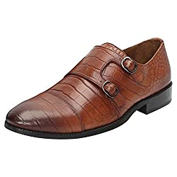 BRUNE Tan Color 100% Genuine Leather Croco Print Double Monk Strap Shoes For Men