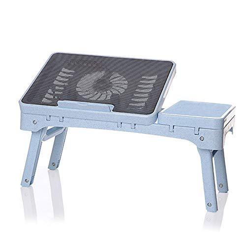 ZOUQILAI Faltbare Laptop-Tisch Tragbare Multifunktionsschreibtisch Büro Stehender Schreibtisch Riser Computertisch Computer Kühltisch mit Ventilator (Farbe : Blau) (Hund-tisch Kindersitz)