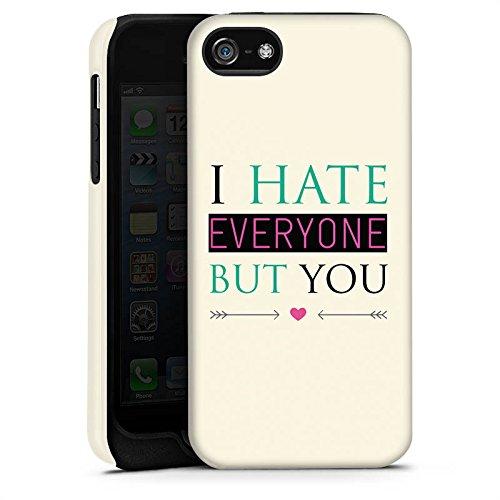 Apple iPhone X Silikon Hülle Case Schutzhülle Spruch Love Hate Herz Tough Case matt
