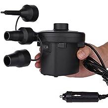 Cadrim Bomba de aire eléctrica, Eléctrico Bomba con adaptador de alimentación de coche para Colchones de Aire, Botes Inflables, Camas de Invitados, Piscinas Inflables o Camping