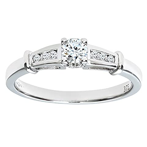 Naava Women's 9 ct White Gold Diamond Engagement Ring With