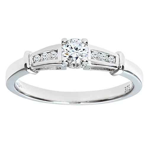 Naava Women's 9 ct White Gold 0.25 ct Round Brilliant Diamond Set in Shoulders Solitaire Engagement Ring