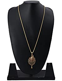 Radha's Creations Ruby American Diamond AD Stone Pendant Bead Chain Length 30 Inches No-2 One Gram Gold Plated...