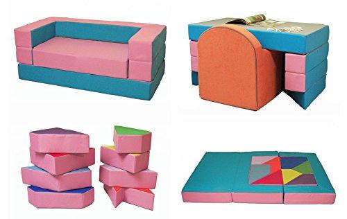 Kindersofa mit Bettfunktion 4in1 * Matratze Spieltisch Puzzle Sofa Spielsofa (Rosa+Hellblau)
