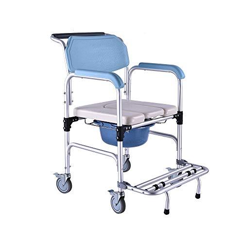 CC- Toilet chair Aluminium-Duschstuhl/Klappbett WC/Nachttisch WC/Rollen und gepolsterter Sitz, Kommodeimer und Deckelgröße: 56 * 53 * 90 -