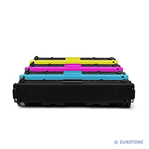 4x Eurotone Remanufactured Toner Cartouche pour HP Color LaserJet CP 1210 1213 1214 1215 1217 1513 1514 1515 1516 1517 1518 1519 NI N remplace CB540A-43A 125A