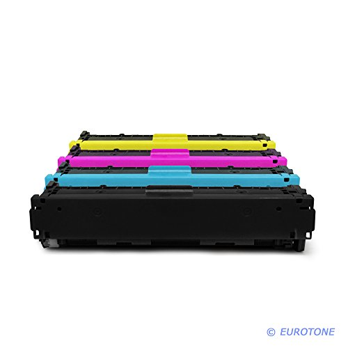 Eurotone Toner Kartuschen remanufactured für HP Color Laserjet CP 1210 / 1213 / 1214 / 1214 / 1215 / 1216 / 1217 / 1513 / 1513 / 1514 / 1515 / 1516 / 1517 / 1518 / 1519 ersetzten CB540A CB541A CB542A CB543A 125A Patronen im Spar Set - kompatible Premium Kit Alternative - non oem (Cb542a Remanufactured Toner Gelb)