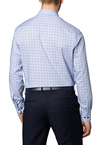 Eterna Long Sleeve Shirt Modern Fit Oxford Checked Blu/Beige