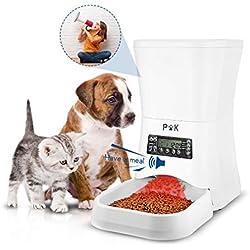 PUPPY KITTY 7L Distributeur de Croquettes pour Chats et Chiens Distributeur Automatique de Nourriture Enregistrement Vocal Programmable 4 Repas par Jour