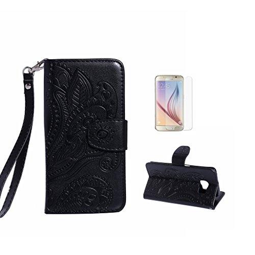 Samsung Galaxy S6Case Custodia, Samsung Galaxy G920, con protezione per lo schermo in vetro temperato] antigraffio, fatcatparadise (TM) Custodia posteriore in silicone morbido, elegante vintage Press Black
