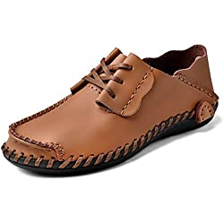 UBFen Hombre Zapatos Casuales Mocasin de Cuero Conducir Slip On Negocios Oxfords Conducción Coche Negro Azul Amarillo Marrón Claro EU 47 B Marrón claro