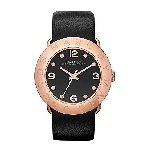 Marc Jacobs - Reloj de Cuarzo para Mujer, Correa de Cuero Color Negro