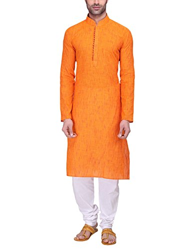 6. RG Designers Men's Full Sleeve Kurta Pyjama Set AVHandloomLoops-Orange
