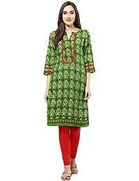 [Sponsored]Jaipur Kurti Rayon Green Geometrical Print Kurta