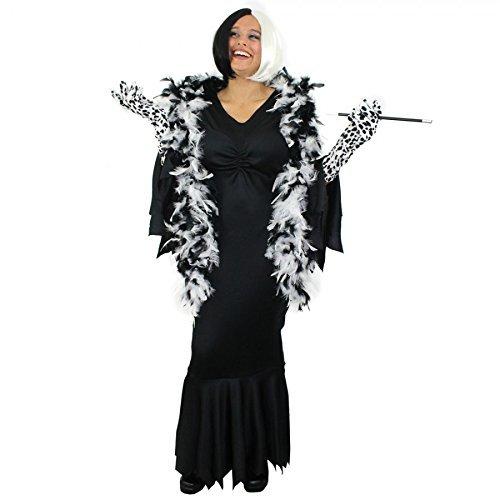 Kostüm Vil Cruella Hunde De - Zeichentrick KOSTÜM VERKLEIDUNG =BÖSE HUNDELADY DE VIL- IN 2 VERSCHIEDENEN VARIATIONEN = VARIATION-2- Kleid IN -XXLarge
