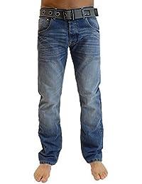 Hommes Crosshatch Neuf Wak Jeans Créateur Jambe Droite Délavé Moyen Pantalon & Ceinture