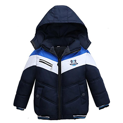 Baby Kleinkind Mädchen Junge Kinder Mantel Jungen Mädchen Dicke Kapuze Mantel Padded Winter Jacke Kleidung By Dragon (Marine, 3T) (Winter 3t Mantel Jungen)