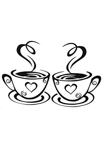 Küche Dekor Kaffee Haus Aufkleber Kaffetasse Wandsticker Esszimmer Selbstklebend Wandaufkleber Möbel Küche Kühlschrank Toilette Glasfenster Wandtattoo (Zwei Paare) KS009 ()