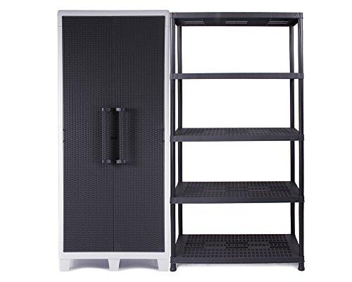 Ondis24 Kunststoffschrank XL Santo mit 4 Böden, abschließbar & Schwerlastregal Steckregal 18 Zoll