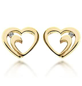 Carissima Gold 9ct Yellow Gold Diamond Heart Stud Earrings
