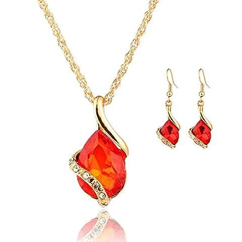 Rcool Women Girl Crystal Pendant Chain Necklace Choker Drop Earrings Jewelry Set (Red)