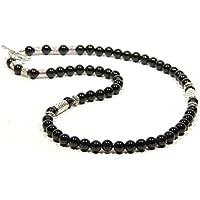 Collier en agate noir et perles tibétain argenté pour hommes et femmes CHRO02 Men's Black_Silver Choker