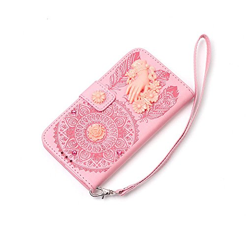 "iPhone 7 Plus Coque Élégant Filles Cuir Portefeuille Etui Rabat Style 3D Main et Fleur Sculpture Windbell Embossage Motif Case pour Apple iPhone 7 Plus 5.5"" Rose"