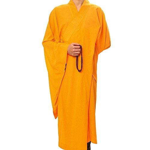 Unisex blickdicht Mönch Kostüm Bademantel Buddhismus Uniform, gelb (Buddhistische Kostüme)