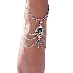 Malloom femmes plage pieds nus turquoise pied sandale chaîne de bijoux de cheville panicule