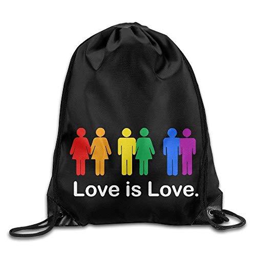 HLKPE Love is Love Rainbow Cool Drawstring Backpack String Bag