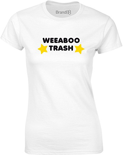 Brand88 - Weeaboo Trash, Gedruckt Frauen T-Shirt Weiß/Schwarz/Gelb